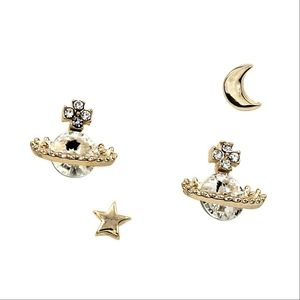 White s,all sqace planet crysal earrings